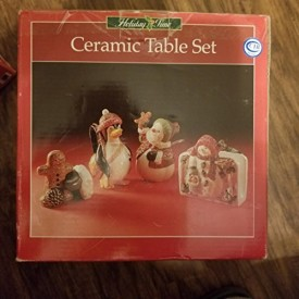 Holiday Time Ceramic Napkin Holder, Sugar, Creamer, Salt & Pepper 5 Piece Tab...