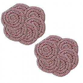Country Charm Red & White Checkered Gingerbread Swirl Hot Pads - Set of 12