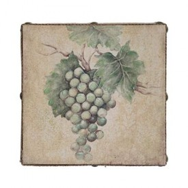 Susan Winget Wine White Grapes Hand Embellished Linen 12 x 12 x 2.5