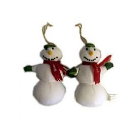 1998 American Greeting Card Plush Snowman Ornament Set of 2