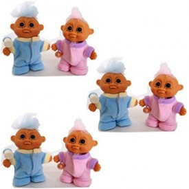 My Lucky Mini 3.5 Baby Boy & Baby Girl Troll Doll Dressed in Pajamas w/Baby Bottle Set of 6