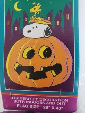 "Peanuts Halloween House Flag Snoop-O-Lantern Decorative Flag 28"" x 40"""
