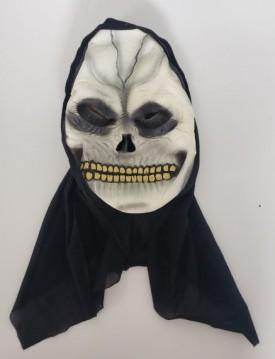 Skeleton Mask with Black Hood OS