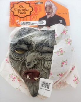 Scary Old Person Character Mask With Attached Headscarf