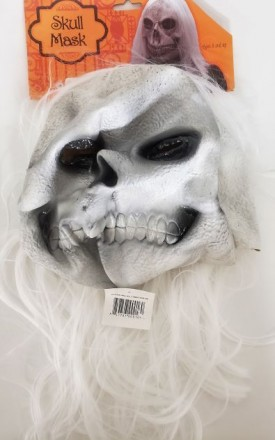 Scary Skull Mask With Attached White Hair