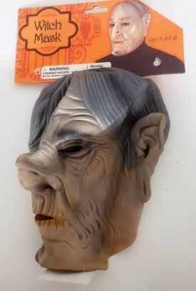 Scary Witch Mask With Nose & Face Warts