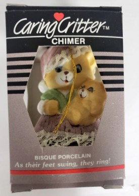 Vintage Jasco Caring Critter Chimer Porcelain Bell Ornament - Mother Cat Baby