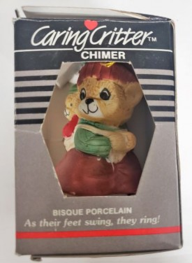 Vintage Jasco Caring Critter Chimer Porcelain Bell Ornament - Mother Baby Bear Knapsack