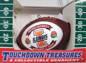 Touchdown Treasures Football Ornament Illinois Rose Bowl Jan. 1, 2008