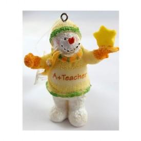 Russe Berrie & Co A+ Teacher Snowman Ornament 2.25