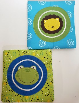 Okie Dokie Lion & Frog 2 Piece Plush Wall Art Baby Nursery 10x10