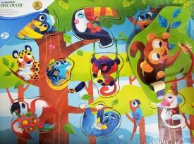 Imaginarium Magnetic Wood Peg Puzzle 8-Piece - Tropical Rain Forest Animals