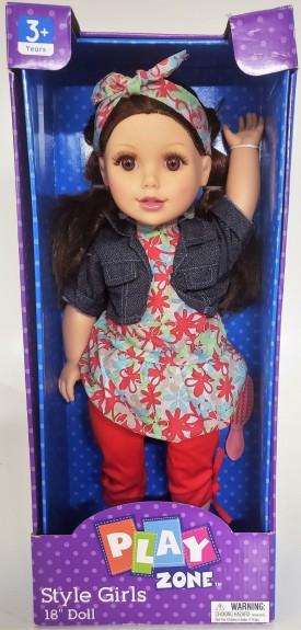 "Play Zone Style Girls 18"" Doll ""Aubree"" Light Brown Hair Denim Top Plaid Skirt"