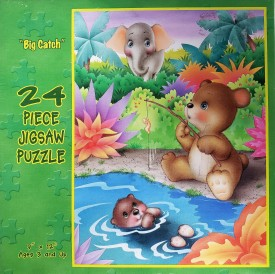 """Whimsical Series 24 Piece Jigsaw Puzzle """"Big Catch"""" Baby Animals"""