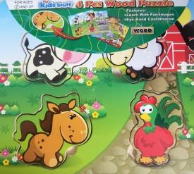 Kids Stuff 4 Piece Chunky Wooden Puzzle - Farm Animals
