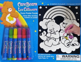 """Care Bears Fuzzy Poster Puzzle """"Fuzzy Friends"""" 6 Markers Included"""