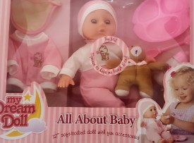 """My Dream Doll All About Baby 12"""" Soft Bodied Doll with Fun Accessories She Laughs and Cries"""