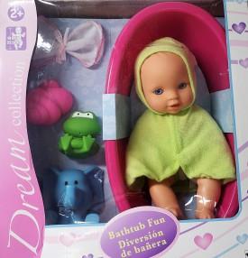 """GiGi Toy Dream Collection 10"""" Bathtub Fun Baby Doll w/ Accessories"""
