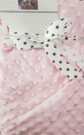 "Pitter Patter Pink Baby Blanket Soft Minky Dot Plush Lovey Blankie 30×40"""