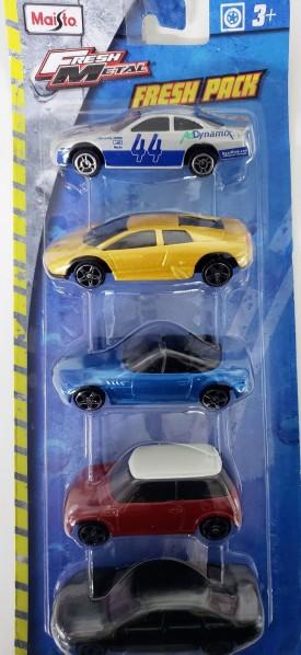 2016 Maisto Fresh Metal  Fresh 5 Pack 1:64 Scale Diecast Cars Includes Red Mini Cooper, Gold Lamborghini, Blue BMW, Black Mercedes