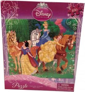 "Disney Princess(3) Puzzle - 100 Pieces - 10"" X 9 "" - Belle, Cinderella, Snow White with Horses"