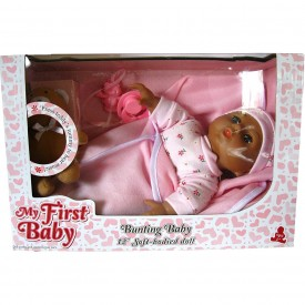 My First Baby Bunting Baby Ethnic Brown Skin (with music playing teddy bear) (beautiful Brown)