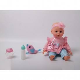 My Sweet Love Baby Doll In Pink & Blue Multi Bird Outfit & Accessories