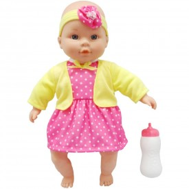 My Sweet Love Crying Baby Doll In White With Pink Polka-dot Dress