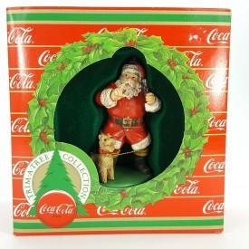 Coca Cola Christmas Shhh Ornament Santa w/ Coke Bottle & Terrier 1986 - H2806