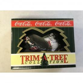 Coca Cola 1996 Christmas Ornament Set - Sledding Elf & Snowshoe Polar Bear