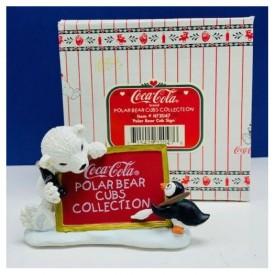 Coca-Cola Polar Bear Cubs Collection Polar Bear Cub Sign Figurine
