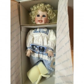 """Vintage 1991 Heritage Dolls """"Michelle"""" Shirley Temple Style Porcelain Doll by Virginia Ehrlich Turner"""
