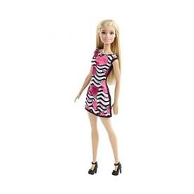 Barbie Pink-Tastic Doll, Rose Art On Black & White Stripes Dress