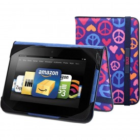 BUILT Slim Folio Standing Case for Kindle Fire HD 7-Inch, Summer of Love Indigo