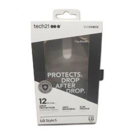Tech21 -Evo Check Case for LG Stylo 5 Black/Smoke Shock Gel Impact
