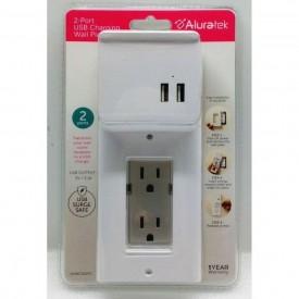 Aluratek AUWCS02FS 2-Port USB Charging Wall Plate WHITE