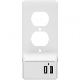 Aluratek AUWCS02FR High Speed Dual Port USB Plug Charger Outlet Plate WHITE