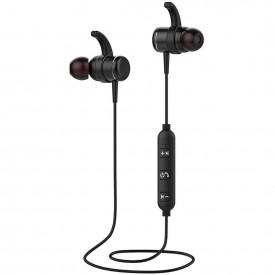 T1 Sport Magnet Metal Bluetooth Stereo Wireless Headset Earphone - Black