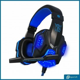 Gaming Headset USB 3.5mm Wired Over LED Headphones Stereo with Mic For Xbox One/PS4 PC (Blue)