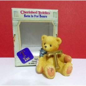 Miniature Cherished Teddies Beta for Bears Greek Alphabet T Tau Mini Figurine