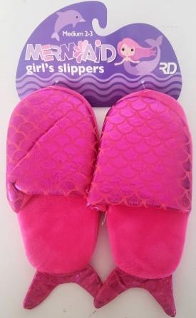 Mermaid Girl's Pink Slippers Medium 2-3