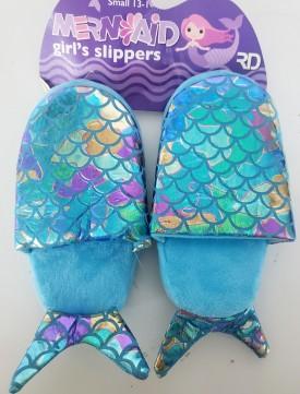 Mermaid Girl's Blue Aqua Slippers Small 13-1