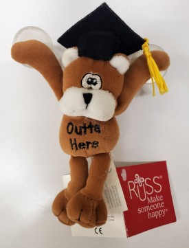 """Russ Berrie Graduation Silly Bear """"Outta Here"""" With Suction Cups 5-inch"""