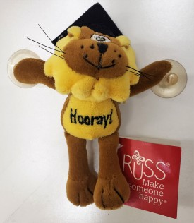 """Russ Berrie Graduation Happy Lion """"Hooray!"""" With Suction Cups 5-inch"""