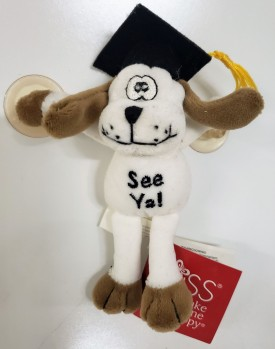 """Russ Berrie Graduation Goofy Dog """"See Ya!"""" With Suction Cups 5-inch"""