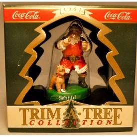 Enesco: Sshhh! - Santa & Puppy - Coca-Cola - Trim A Tree Collection - Ornament