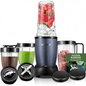 Blender, Aicook Smoothie Blender, 780W High-Speed Personal Blender, 15-Piece Smoothie Maker/Mixer Included 4-Piece BPA-Free Blender Bottles, Two SUS 304 Stainless Steel Blades, Charcoal Grey`