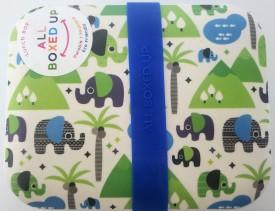 All Boxed Up Eco Friendly Lunch Box - Blue/Green Elephants Sahara Desert