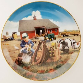 Danbury Mint Too Busy To Play Plate Donald Zolan Collection Little Farmhands