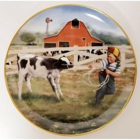 Danbury Mint Tug Of War Plate Donald Zolan Collection Little Farmhands